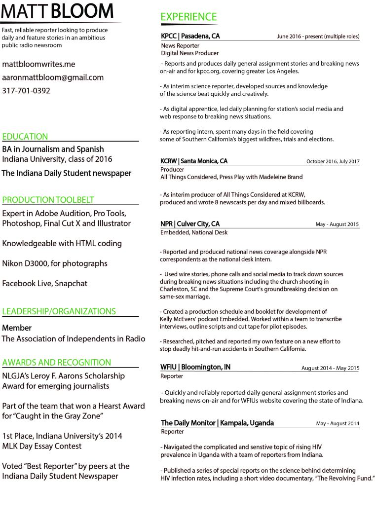 Matt Bloom's October Resume Final Version 1 Page